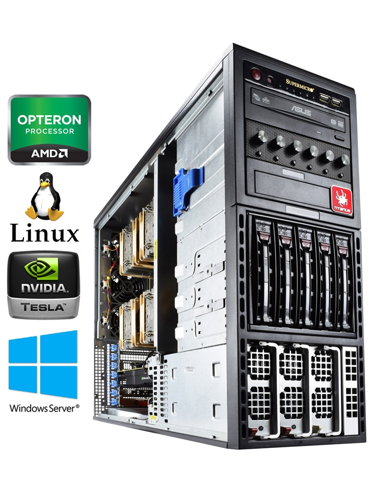 Titan A450-SYS - AMD Opteron 64 Core capable Multi GPU server tower with  redundant power supplies