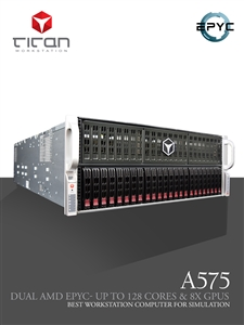 Titan A575 - Up to 8x NVIDIA Multi GPUs Computing Server w/ Dual AMD Epyc and up to 128 Cores