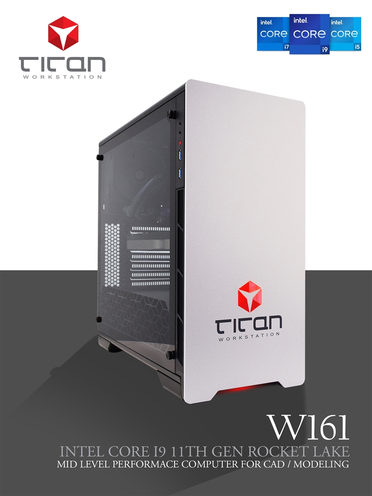 Titan W161 - Intel Core i9 9th Gen Coffee Lake CAD Modeling Workstation PC  up to 8 cores
