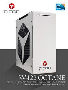 Titan W422 Octane - Intel Xeon W Cascade Lake - VR Design - CUDA GPU Rendering Workstation PC up to 18 Cores