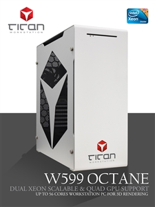 Titan W599 Octane - Dual Intel Xeon Scalable CPUs - Quad GPU CUDA Render Workstation PC - Six Channel Memory & up to 56 Cores