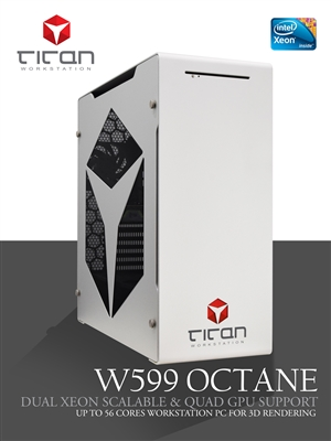 Titan W599 Octane - Dual Intel Xeon Scalable CPUs - Quad GPU Render Workstation PC up to 56 cores & Six Channel Memory