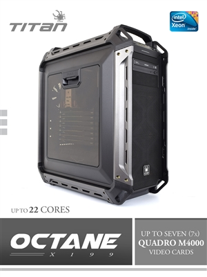 Titan X199 OCTANE - Single 10 Core Intel Xeon E5-2630 V4 CPU, All Liquid Cooled Ultra Silent CUDA GPU Rendering Workstation PC up to 22 Cores