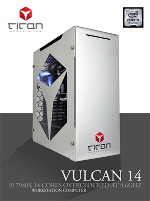 Titan VULCAN 14 - Overclocked to 4.6GHz Intel Core i9-9940X 14 Cores - Video Editing Workstation Computer